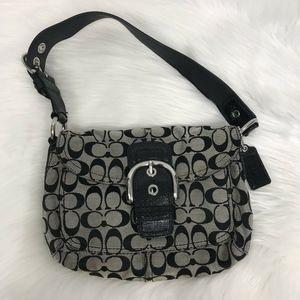 Coach Signature Black & Gray Shoulder Bag